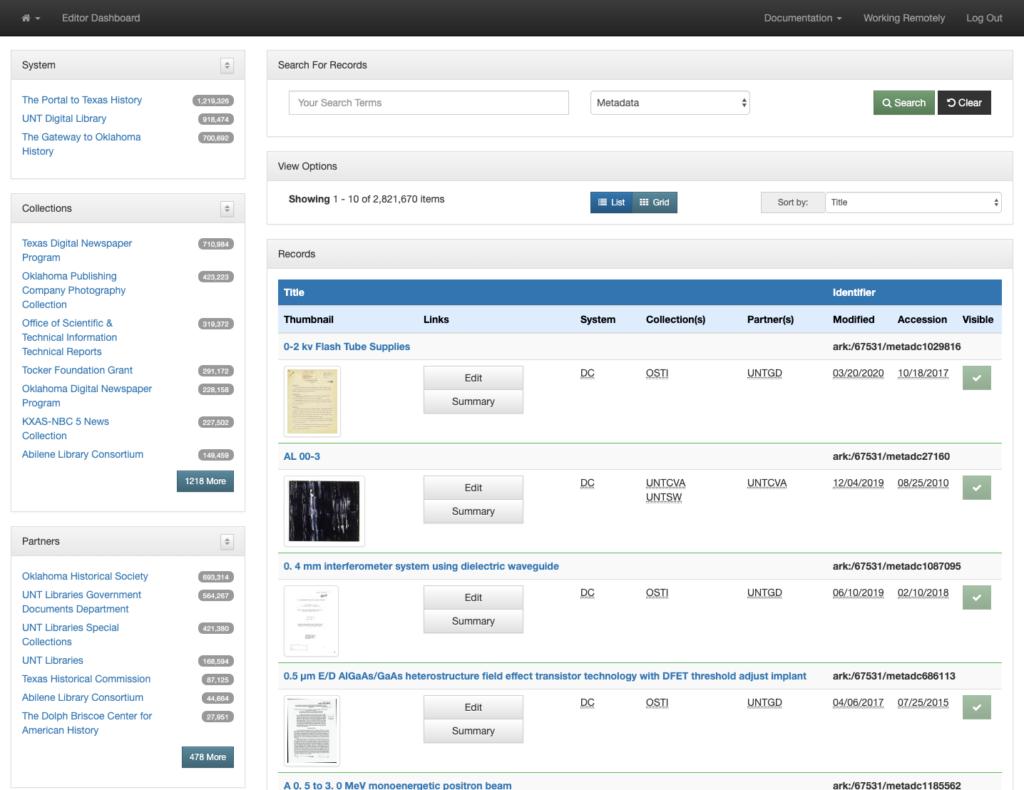Edit System: Search Dashboard